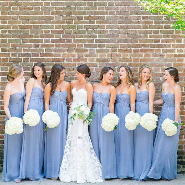 Lavender Chiffon Sweetheart Strapless Simple Long Bridesmaid Dresses , WG48