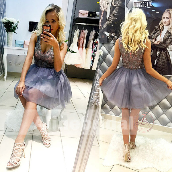 Lavender Lace Top Tulle V-neck Sleeveless Homecoming Dresses For Teens,BD00237