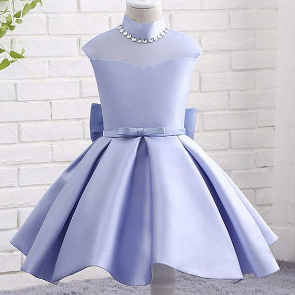 e7766979e8a Lavender Satin High Neck See Through Back Bow Knot Simple Flower Girl  Dresses