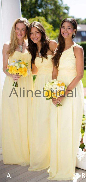 Lemon Yellow Chiffon Mismatched A-line Long Bridesmaid Dresses , AB4100