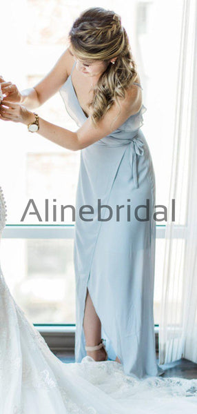 Light Blue Chiffon Spaghetti Strap High Low Bridesmaid Dresses, AB4120
