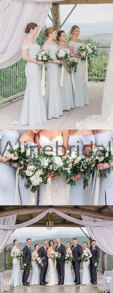 Light Blue Off Shoulder Mermaid Long Bridesmaid Dresses , AB4128
