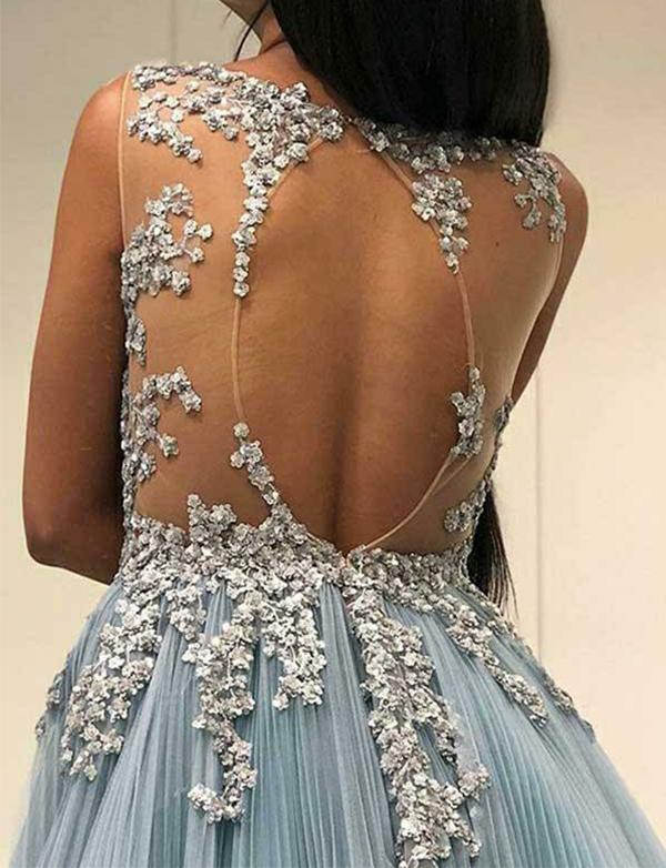 Light Blue Tulle Applique Open Back Sleeveless Prom Dresses ,PD00196