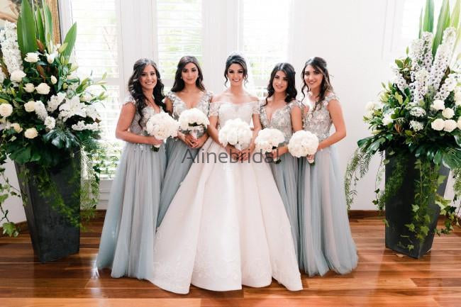 Light Blue Tulle Handmade Flower Aplique Country Wedding Bridesmaid Dresses, AB4078