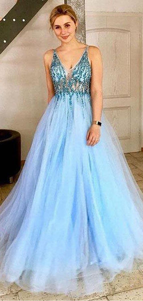 Light Blue Tulle Sequin Beads V-neck Backless Prom Dresses,PD00363