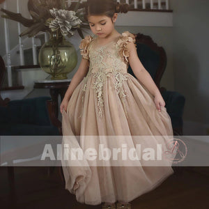 Light Brown Appliques Tulle Pretty Sleeveless Long Flower Girl Dresses, FGS069
