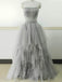 Light Gray Strapless Unique Vintage Formal Ball Gown Prom Dresses. PD070