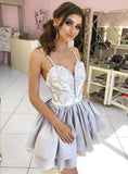 Light Grey Applique Satin Tiered Spaghetti Strap Homecoming Dresses ,BD00202