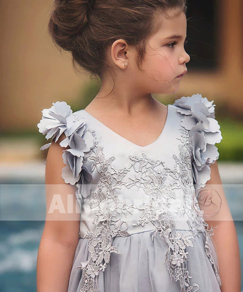 Light Grey Appliques Tulle Pretty Sleeveless Short Flower Girl Dresses, FGS078