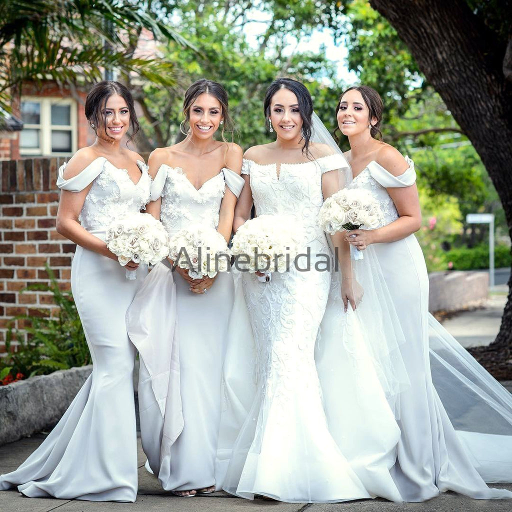 Light Grey Off Shoulder Applique Mermaid Elegant Bridesmaid Dresses, AB4062