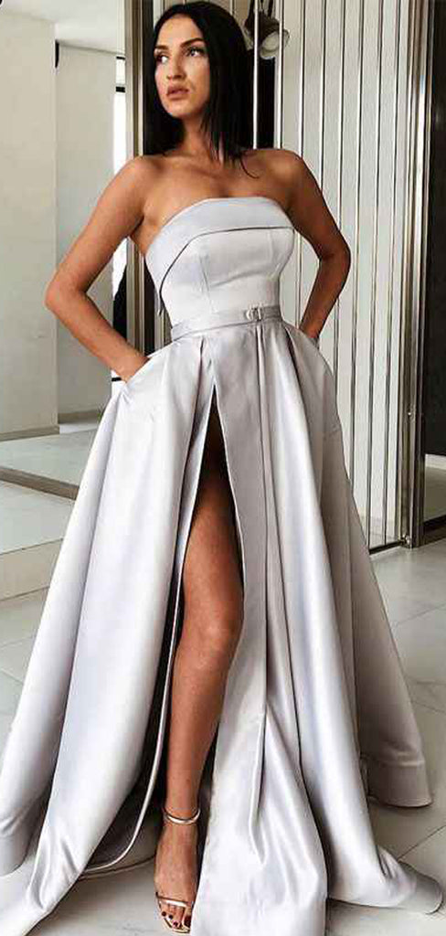 Light Grey Satin Strapless Pockets Fashion Prom Dresses.PD00237