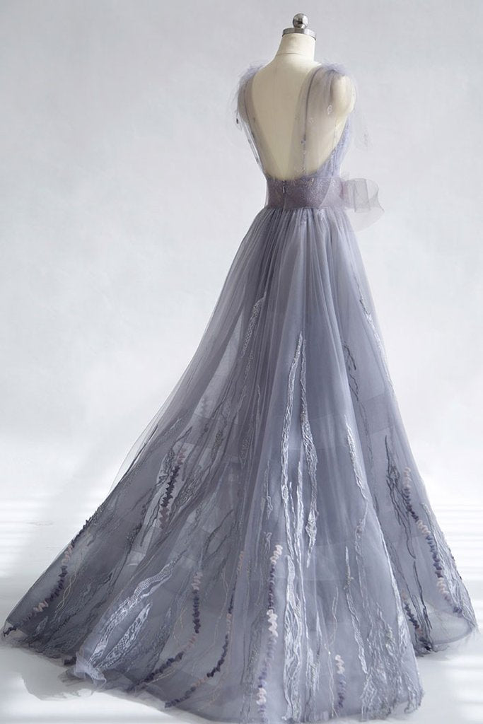 Light Grey Spaghetti Strap Lace Tulle V-neck Long  Prom Dresses,PD00075