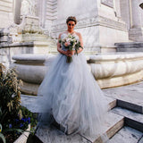 Light Grey Tulle Ruffles Strapless Ball Gown Simple Wedding Dresses, AB1110