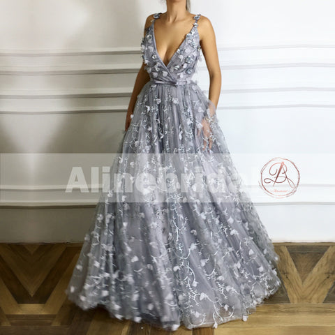 products Light Grey Unique Lace Handmade Flowers V-neck Spaghetti Strap Prom Dresses PD00110-1.jpg 2727dea1e