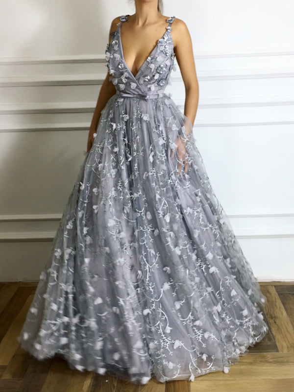 Light Grey Unique Lace Handmade Flowers V-neck Spaghetti Strap Prom Dresses ,PD00110