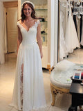 Light Ivory Lace Chiffon V-neck A-line Beach Wedding Dresses, AB1555