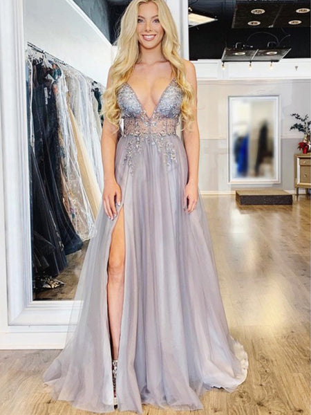 970a18587ce Light Lilac Tulle Beading Illusion V-neck Sexy Prom Dresses