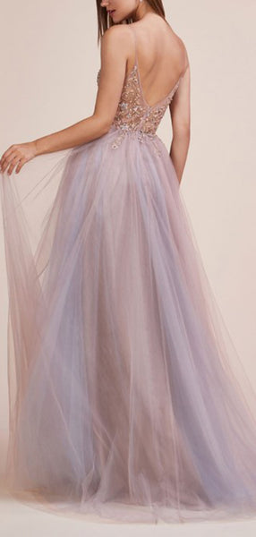 Light Lilac Tulle Beading Illusion V-neck Sexy Prom Dresses,PD00366