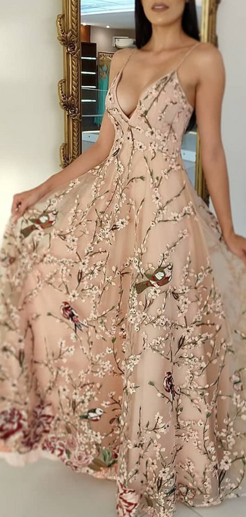 Light Pink Floral Embroidery Spaghetti Strap A-line Prom Dresses.PD00278