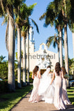 Light Pink Sleeveless Mermaid With Train Long Bridesmaid Dresses, AB4082