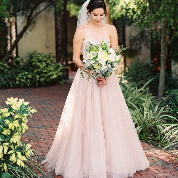 Light Pink Sweetheart Strapless Lace Top Tulle A Line Simple Beach