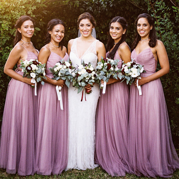 Light Purple Tulle Spaghetti Straps Convertible Tie Back Long Bridesmaid Dresses , AB1219