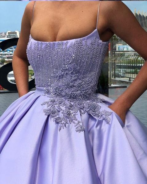 Lilac Satin Beading Applique Spaghetti Strap Ball Gown Prom Dresses,PD00188