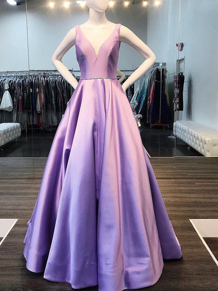 Lilac Satin V-neck Sleeveless Pockets A-line Prom Dresses,PD00354