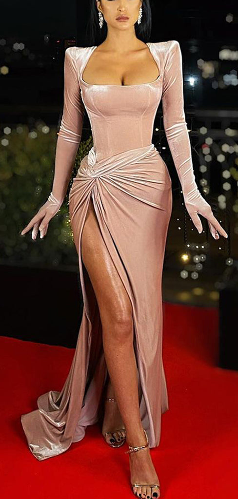 Fashion Long Sleeves Blush Pink Mermaid Sexy Prom Dresses PD1057