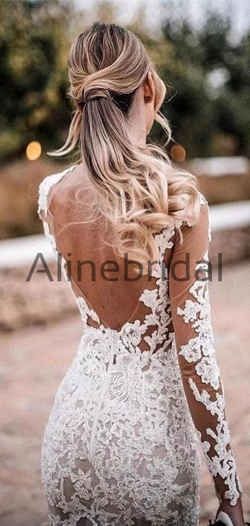 Long Sleeves Lace Mermaid Beach Country Wedding Dresses WD0576