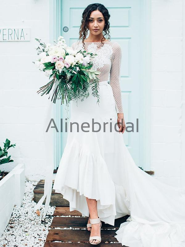 Long Sleeves Unique Rustic Trumpet Lace Beach Wedding Dresses WD0577