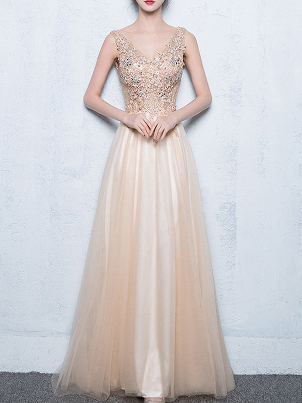 Long A-line Sleeveless V-neck Pretty Lace Appliques Beading Sequins Prom Dresses,PD00007