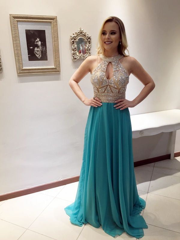 Long Beaded Hater Vintage Elegant Ball Gown Custom Prom Dresses Online. AB015