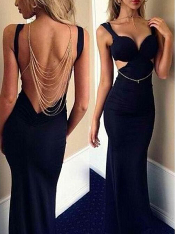 Long Black Beading Backless Sexy Fashion Cocktail Online Evening Party Prom DressPD0147