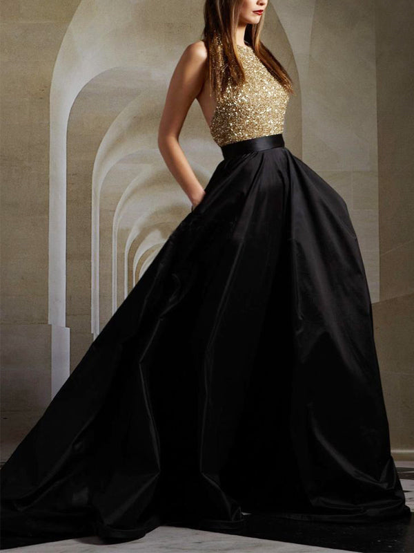 Long Gold Sequin Black Party A-line Ball Gown Sparkly Formal Prom Dress , PD0023