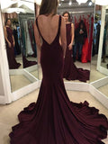 Long Burgundy V-Back Mermaid Simple Formal Evening Prom Gown Dress, PD0215