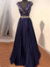 Long Dark Purple V-neck A-line Elegant Lace Evening Party Formal Cocktail Prom Dress,PD0176