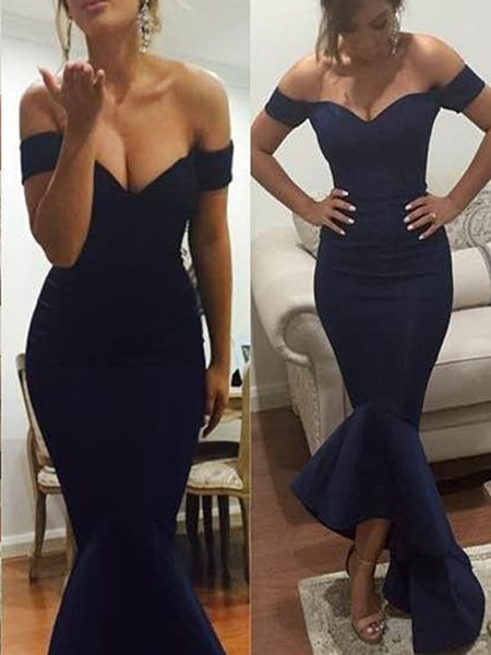Long Navy Blue Mermaid Off Shoulder Formal Evening Party Formal Prom Dress,PD0078