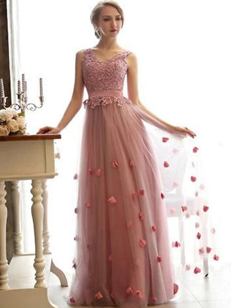 Long Pink Charming Tulle Lace Up Newest High Waist Prom Dresses ,PD0090