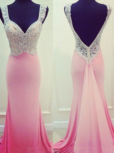 Long Pink Mermaid Open Back Sparkly Unique Custom Prom Dresses,PD0029