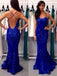 Long Royal Blue Lace Straps Backless Cocktail Party Prom Dress,PD0042