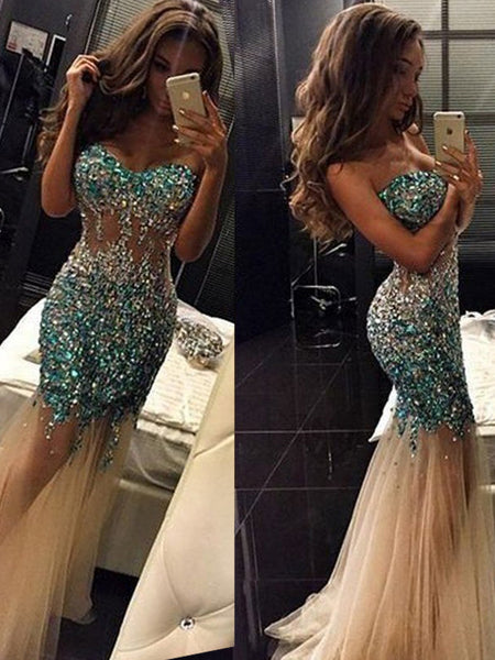 Long See Through Mermaid Newest Sexy Evening party Prom Dresses Online,PD0103