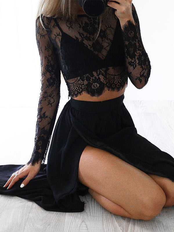 Long Sleeve Black Sexy Slit Two Pieces A-line See Through Unique Style Prom Dress,PD0056