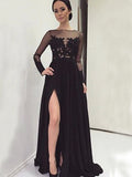 Long Sleeve Black With Slip Side Sexy Appliques Charming Evening Dress For Prom Gown.  PD0210