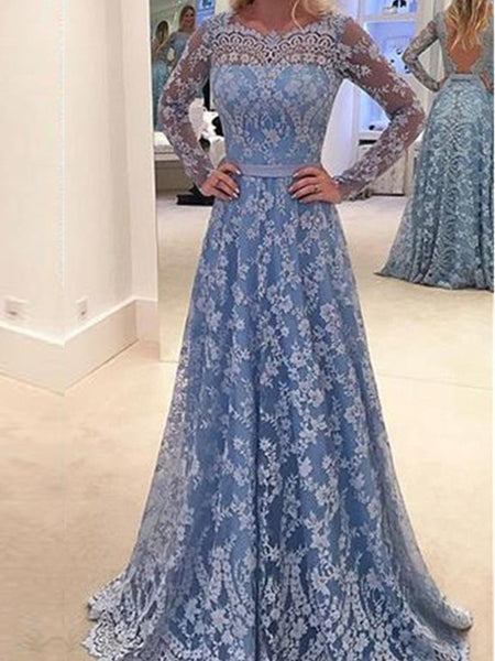 7232923e0e58 Long Sleeve Blue Lace A-line Open Back Cocktail Evening Party Prom Dre –  AlineBridal