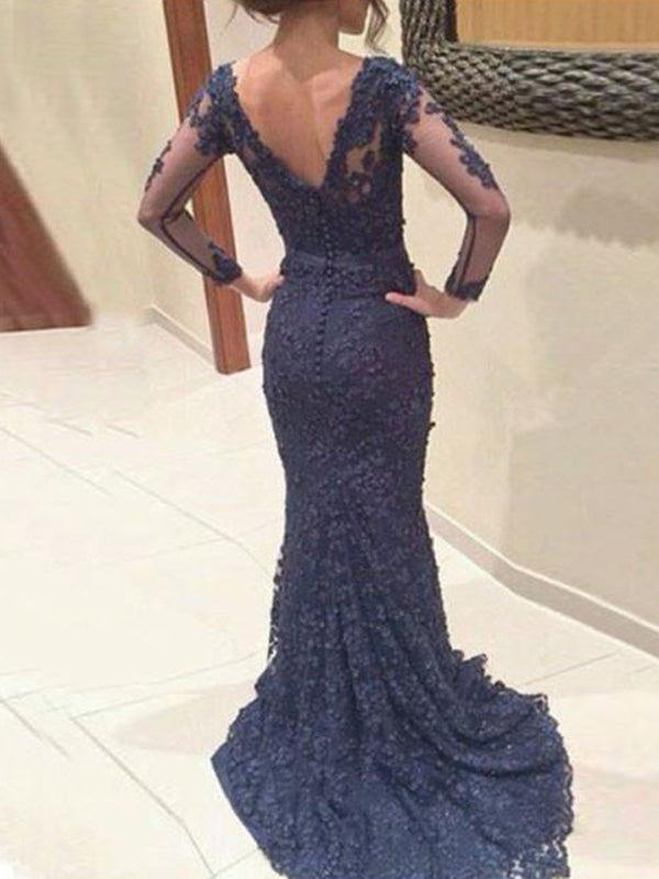 Long Sleeve Custom Navy Lace V-neck Mermaid Simple Formal Evening Prom Dress , PD0017