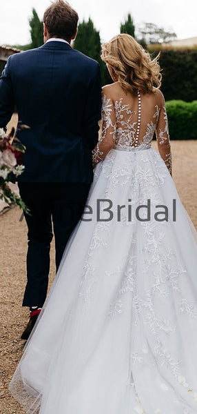 Long Sleeve Illusion lace Top Detachable Overskirt Wedding Dresses, AB1568