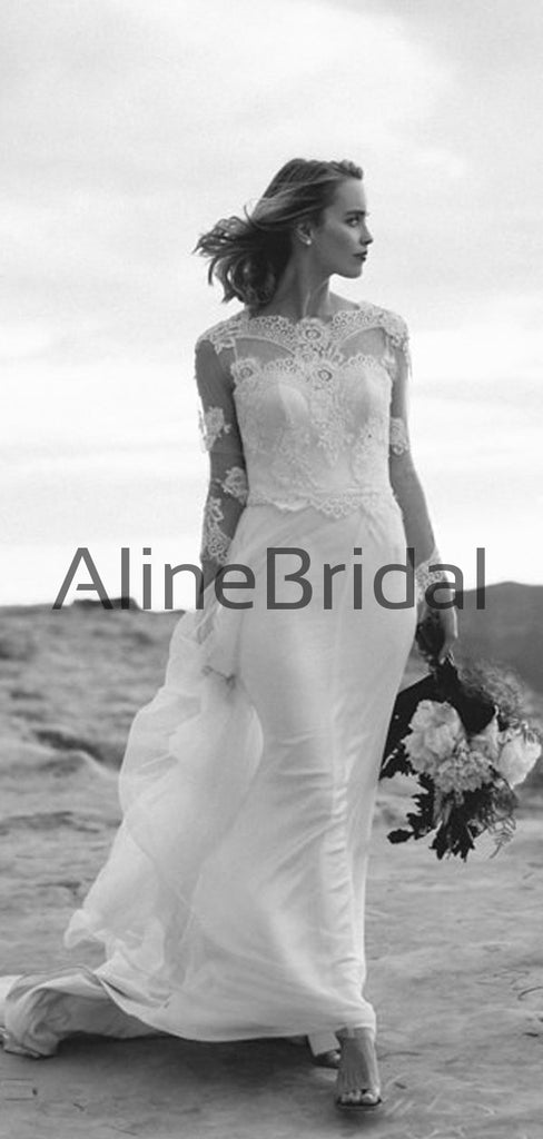 Long Sleeve Lace Tulle Sheath Illusion Charming Wedding Dresses, AB1566
