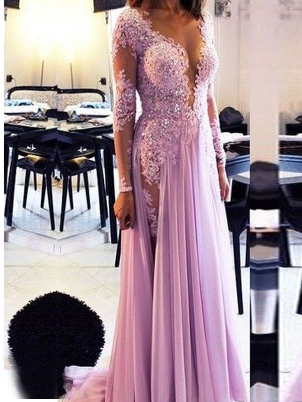 Long Sleeve Lilac Lace Sexy V-neck Evening Party Prom Dresses Online,PD0199