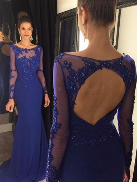 Long Sleeve Royal Blue Open Back Round Neck Appliques Charming Evening Prom Dress , PD0203